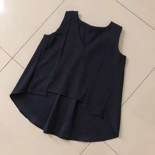 (New) Navy Fish Tail Top