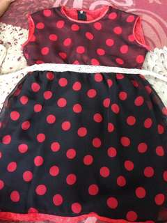 Polka blackred dress