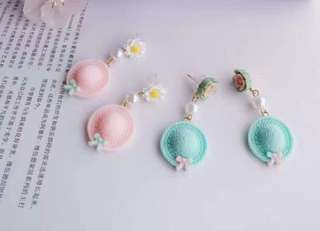 Korean design earrings with hat and floral