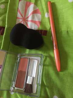 Eyebrow pencil viva black original, beauty blender black, blush on wardah seri A