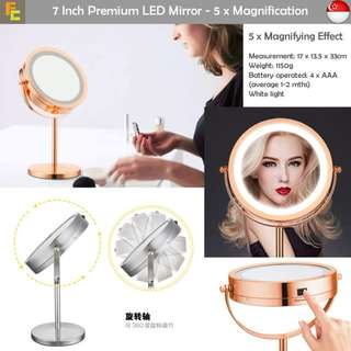 7 INCH PREMIUM LED MIRROR WITH 5 X MAGNIFYING EFFECT