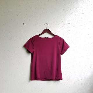 Maroon neoprene blouse