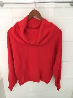 Red Loose Neck Knit