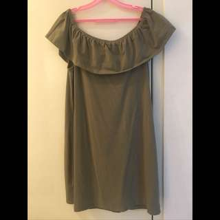 Army Green off shoulder dress