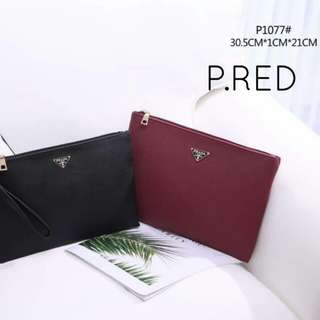 Prada Clutch 2 in 1 Purple Red Color