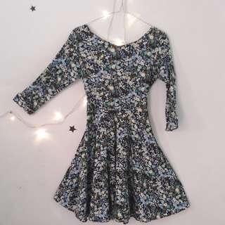 MINI FLARE FLOWER DRESS