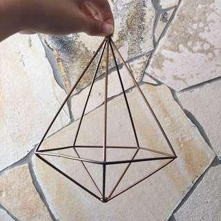 Copper and black geometric terrarium deco piece (Large)