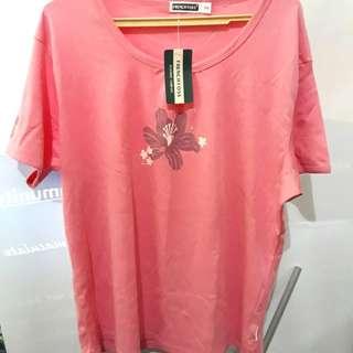 French Toss Peach Flower design plus size blouse 3XL