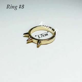 #8 (1.7) Golden Rings Ladies Girls Women Female Lady Accessories Gift Presents