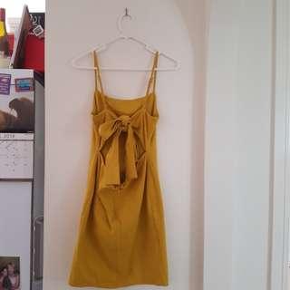 Luvalot mustard yellow tie up dress