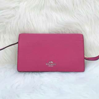 Coach Foldover Crossbody in Magenta Pink