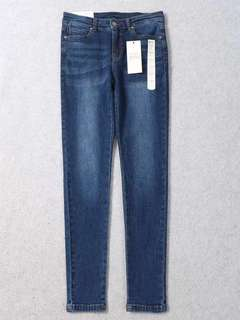 🚚 OshareGirl 04 日單純色藍牛仔褲長褲窄管褲
