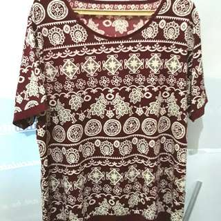 Plus size Maroon Pattern printed stretchable blouse for 2XL