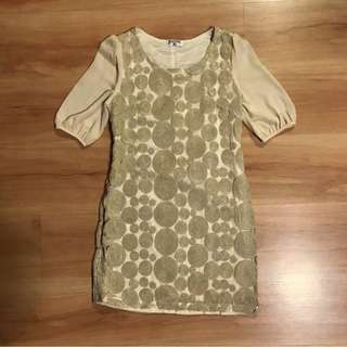 Free Mail! Beige Concentric Textured Babydoll Dress