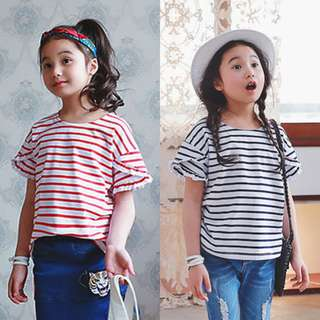[INSTOCK] STRIPE T-SHIRT WITH FRILLED SLEEVES