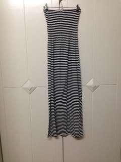 Stripes tube strapless stretchy maxi dress