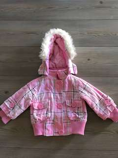 Girls pink check puffer winter jacket size 1