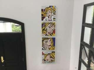 4 x Roy Lichtenstein inspired - Acrylic on Canvas