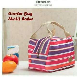 Lunch bag cooler bag motif sakur/garis.. Tas bekal makanan panas dingin