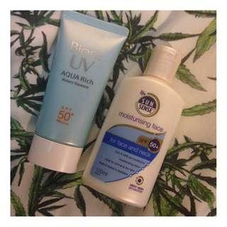 Kao - Biore UV Aqua Rich Watery Essence & Sun Sense Moisturising Sunscreen
