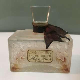Vintage Miss Dior crystal glass Perfume Bottle Paris Empty