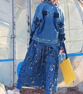 🚚 OshareGirl 04 日單綁帶金屬圓孔設計感牛仔外套