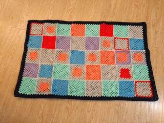 Vintage 歐洲市集購入 超美保存良好的彩色色塊古董編織毯