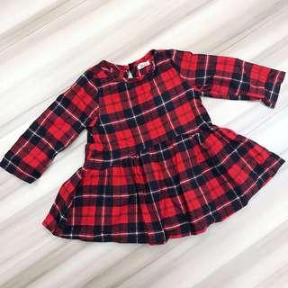 🚚 紅黑格紋英倫風長袖洋裝