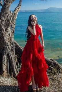 Red dress, evening dress, beach dress