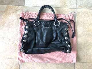 Miu miu leather bag in black