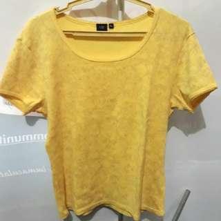 Orig U2 Yellow printed flowers top blouse xl