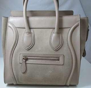 Preowned Celine Micro Luggage Sahara Suede