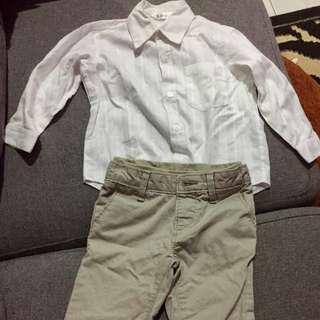 Satu setss kemeja dan celana panjang boys