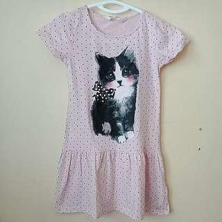H&M Dress w/cat print 5-6y