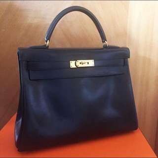 愛馬仕凱利32 手袋包包 黑色金扣 Box Leather