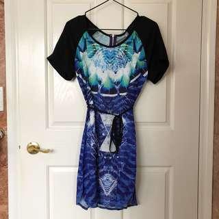 Indikah Print T-shirt Sleeve Dress with Tie Waist