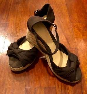 Sfera Dark Brown Abaca Wedge Sandals (Size 40)