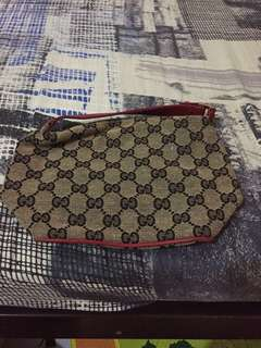 Gucci Monogram Canvas & Red Leather Mini Pouch/Hand Bag