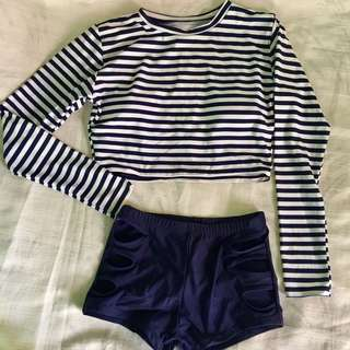 Rashguard crop top swimsuit