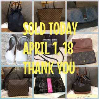 Sold items as of April