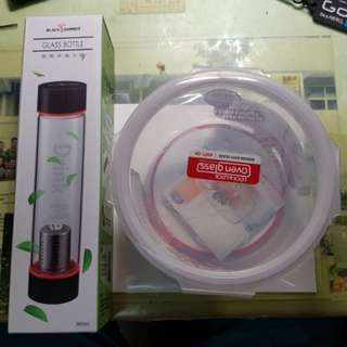 🚚 耐熱玻璃水瓶及玻璃樂扣 (出清/clearance)