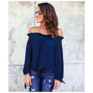 Off Shoulder Ribbon Sleeve Top