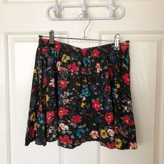 Zara Trafaluc Black Floral Skirt Size S