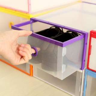 Multi use plastic shoe storage box organizer