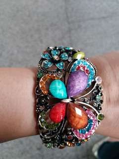 Colourful gemstones butterfly bangle