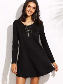 Black long sleeves T-shirt dress
