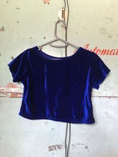 Blue Velvet Crop Top