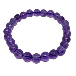 Amethyst Crystal Bracelet with Cubic Zirconia Spacers (7mm)