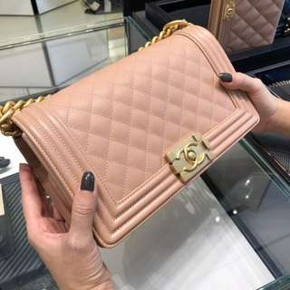 Brand New Chanel Boy in Powder Pink Caviar with GHW