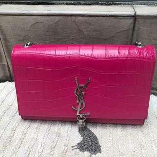 YSL Embossed Croc Kate Tassel Bag in Pink with SHW